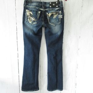 Miss Me Jeans Boot Dark Distressed Sequin